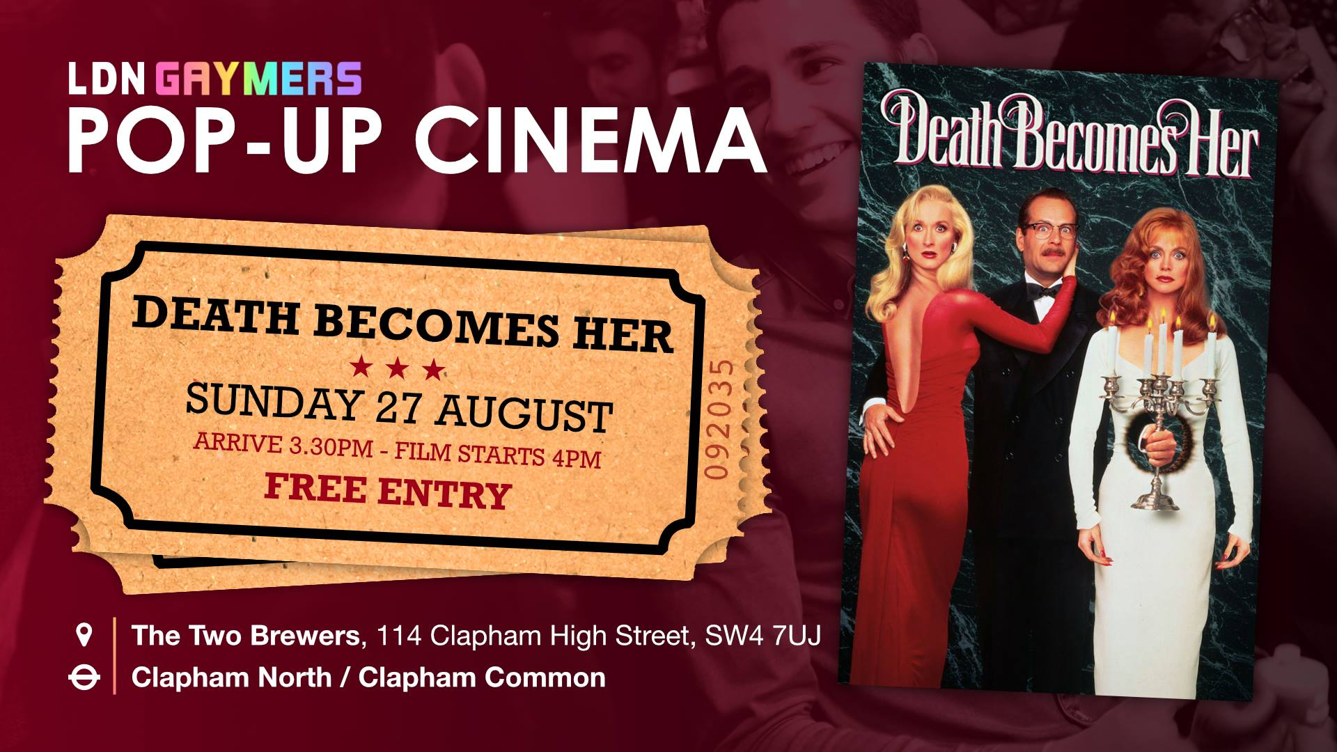 LDN Gaymers: Pop-Up Cinema - Death Becomes Her